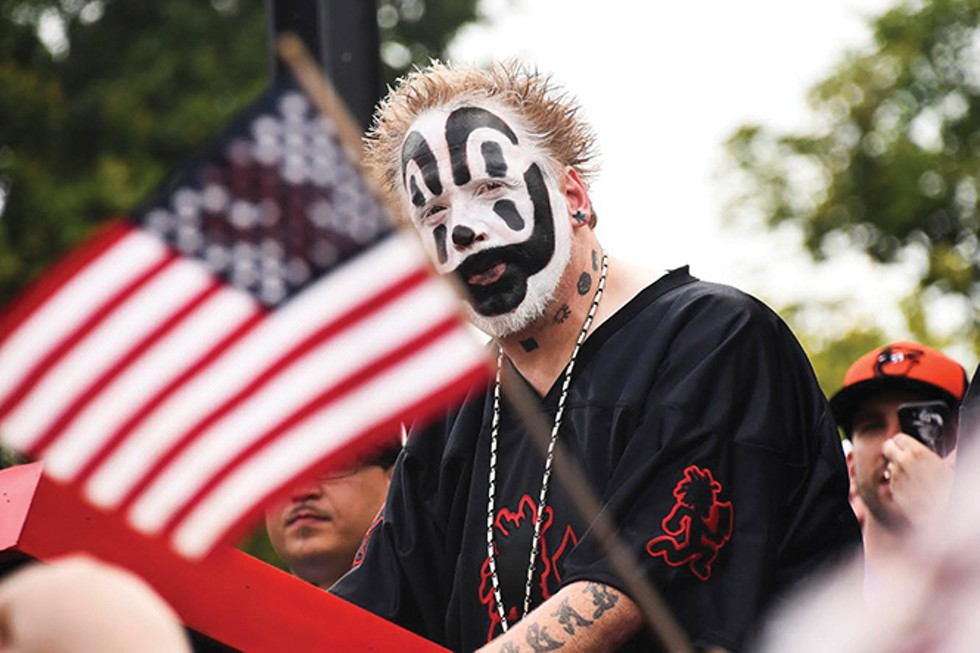 "Juggalos rally in front of the Lincoln Memorial on Sept. 16, protesting the FBI's designattion of them as a ""loosely organized hybrid gang."" - J.M. GIORDANO"