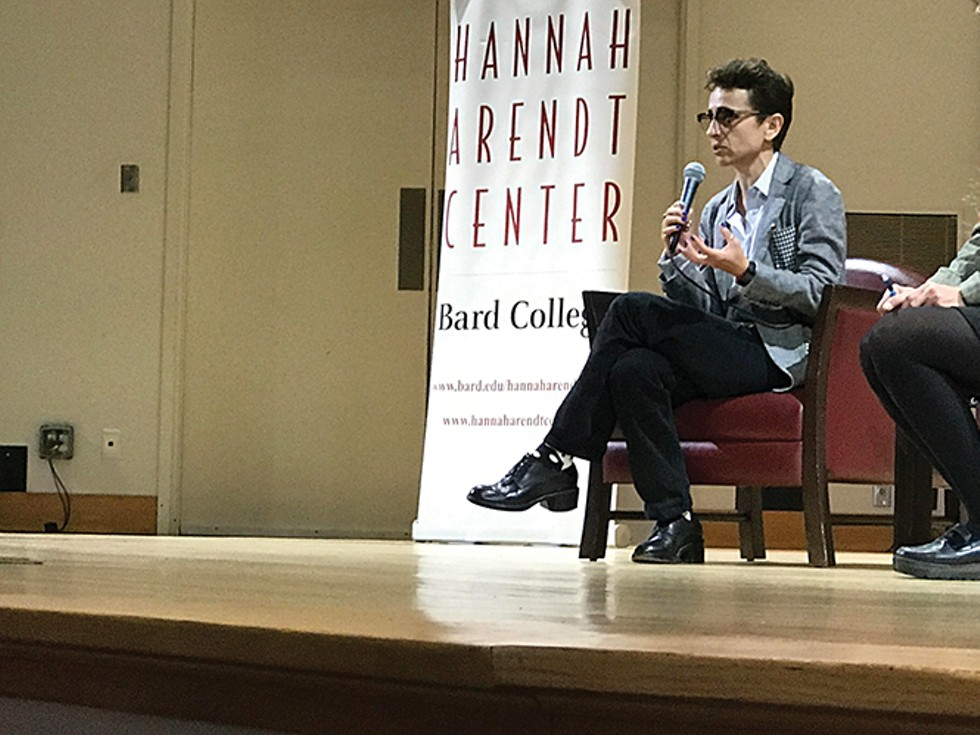 Masha Gessen during one of her participations at last month's 10th annual International Conference on Crises of Democracy at Bard College. - BAYNARD WOODS