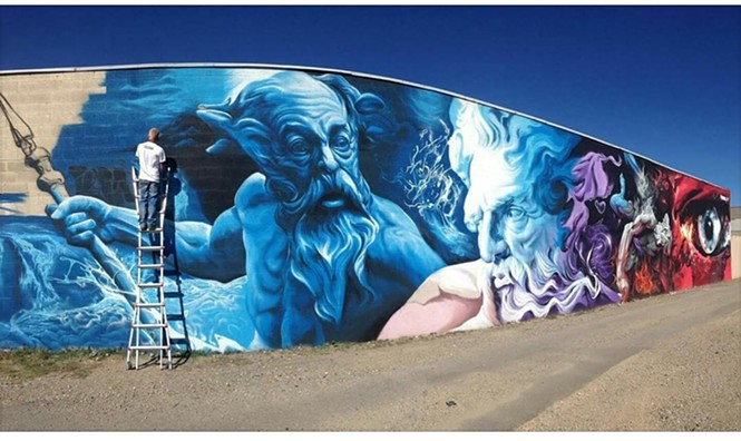 Petersen completing another monumental work. - COURTESY OF THE ARTIST