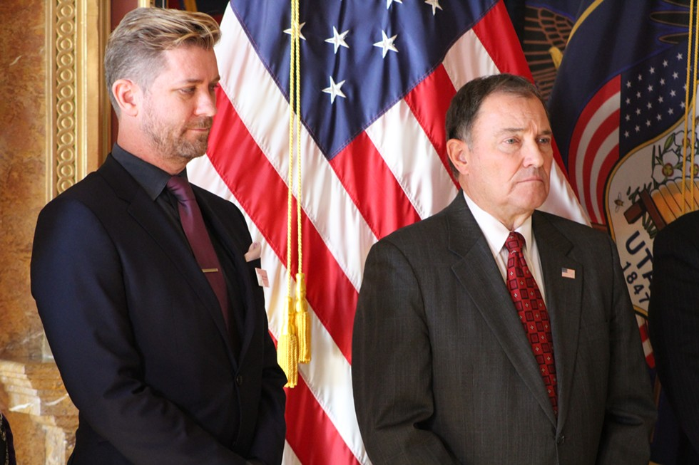 Equality Utah Executive Director Troy Williams (L), is one of 12 members of the governor's newly appointed task force. - ENRIQUE LIMÓN
