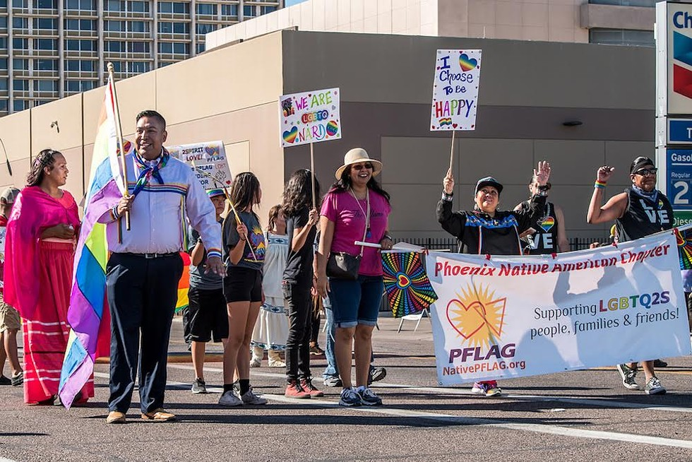 Participants in the 35th Native Community Connections parade in Phoenix, Ariz., show their LGBTQ pride. - PAULANN EGELHOFF
