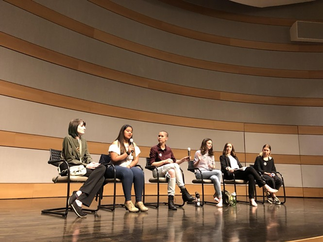Area high school students who participated in the recent National School Walkout movement hosted a panel on gun reform on Wednesday, April 25. - KELAN LYONS