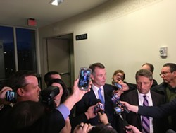 Swallow is swarmed by the media after he is found not guilty Thursday, March 2, 2017 on more than a dozen felony charges. The verdict concluded a years-long bout for the embattled politician, who was accused of bribery, corruption and evidence tampering. - DW HARRIS