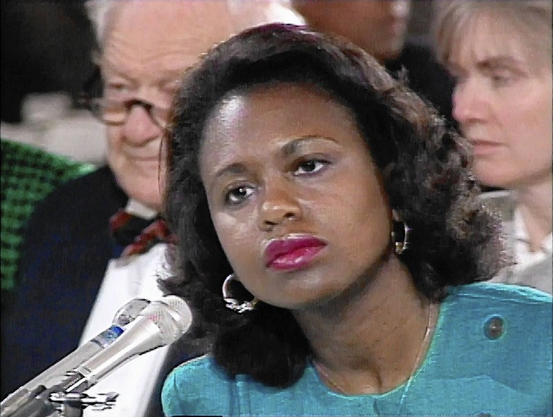 Hill testifies against Clarence Thomas during his 1991 confirmation hearings. - SAMUEL GOLDWYN FILMS