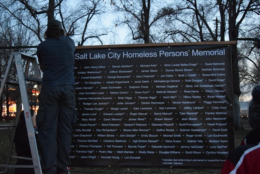Names of the 121 people who died while living on the streets in Salt Lake City in 2018 are displayed in Pioneer Park ahead of the Homeless Persons' Vigil. - RAY HOWZE