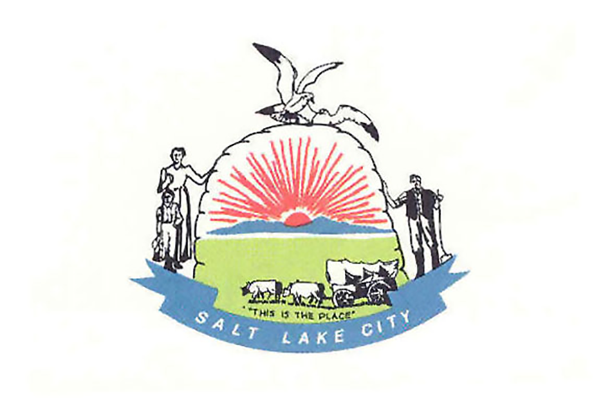 """The city's original flag, which looked more like a """"Mormon Sunday School"""" banner, according to former Mayor Rocky Anderson."""