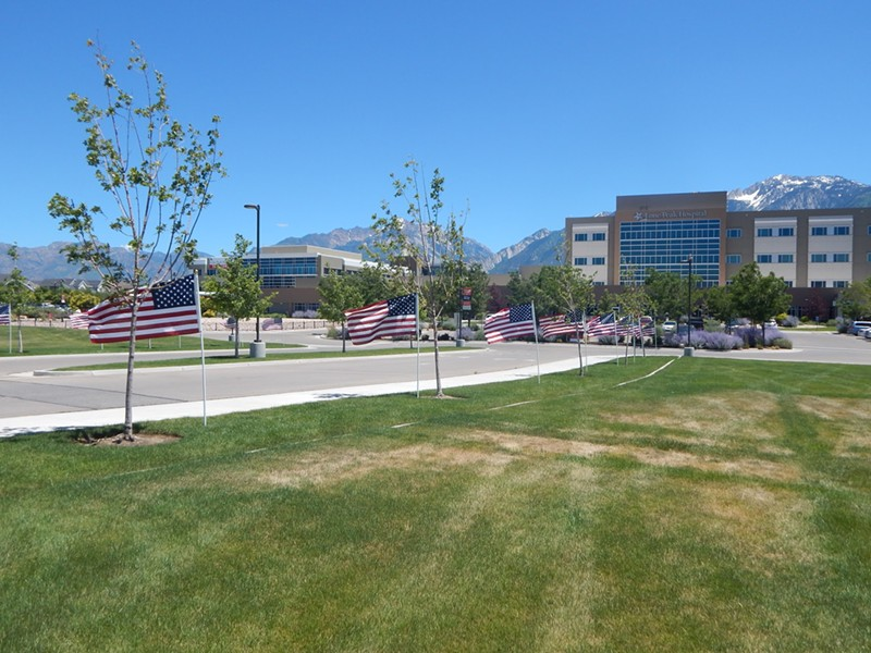 A festive display lines the entrance to Draper's Lone Peak Hospital. - PETER HOLSLIN