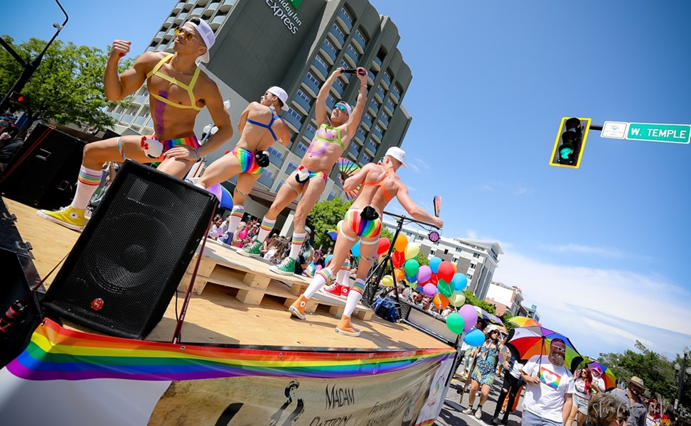 A traditionally powered float makes its way through downtown Salt Lake City streets during the 2019 Utah Pride Parade. - STEVE CONLIN PHOTO