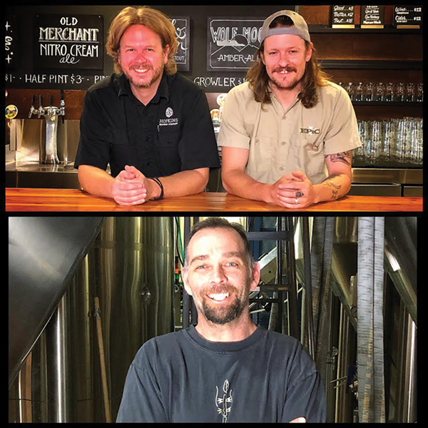 Top: Chad Hopkins and Jordan Schupbach - Bottom: Shades Brewing's Trent Farger - MIKE RIEDEL