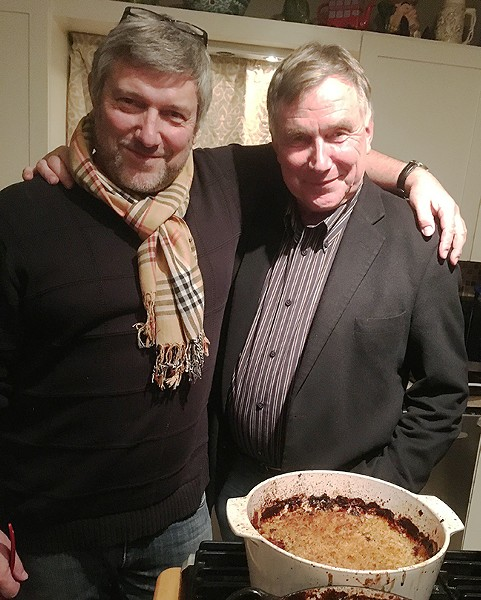The author and Meyer in front of the former's attempt at a cassoulet.