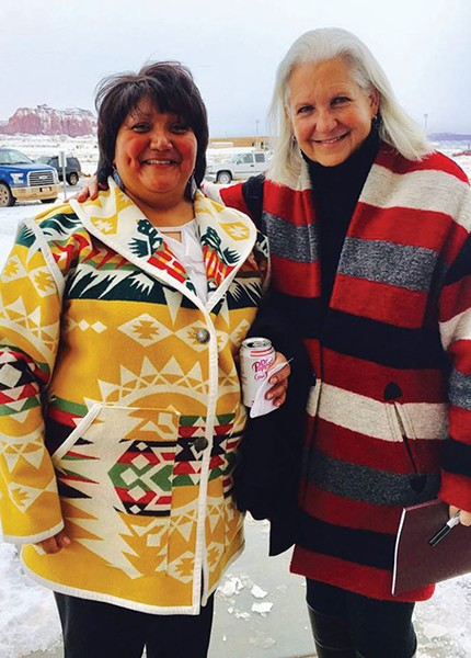Ute councilwoman ReGina Lopez-Whiteskunk and author Terry Tempest Williams