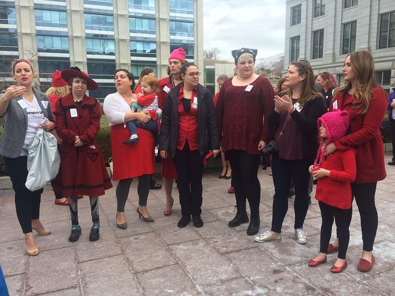 Utah Women Unite organizers at the Utah Capitol on March 8. - ANNIE KNOX