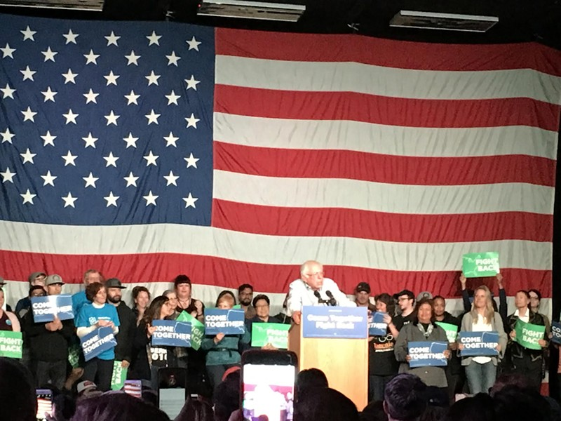 Sanders addressing the SLC crowd on Friday. - DW HARRIS