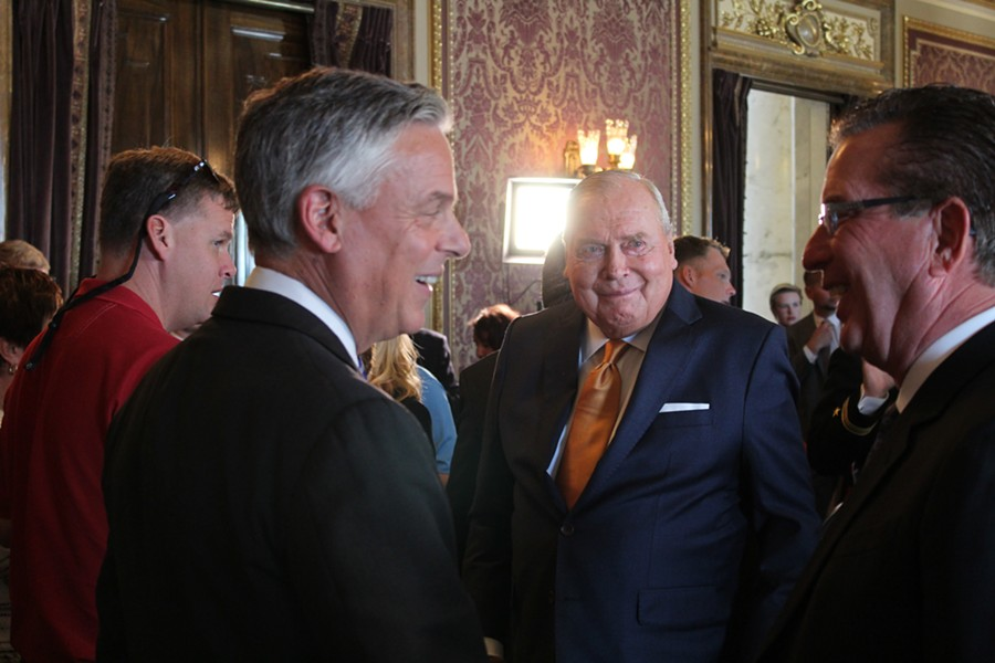 Jon Huntsman Sr. (center) at the ceremonial swearing in of his son, Jon Jr. (left), as U.S. ambassador to Russia in October of last year. - ENRIQUE LIMÓN
