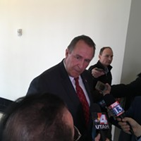 Mark Shurtleff fields questions from the press on Friday, Feb. 24.