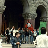 In 1991, when Pride organizers first ended the march at Washington Square, they were met by neo-Nazi protesters.