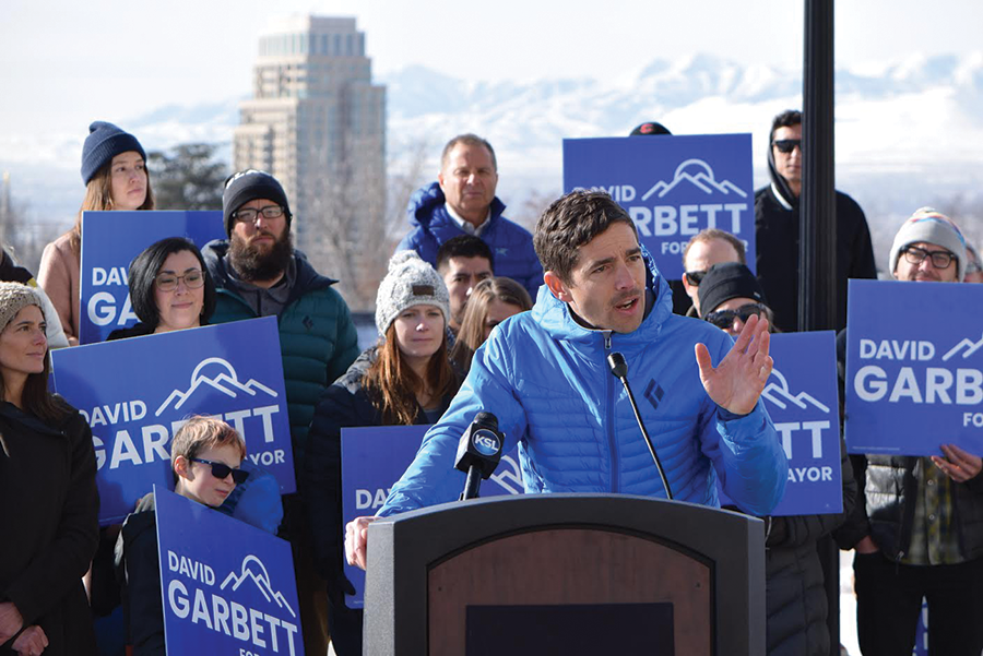 """[Rocky Mountain Power will] be coming to us and there will be an opportunity to say, 'In exchange for doing this for you, we want something from you,'"" mayoral hopeful David Garbett says. ""Obviously, what we want is 100% clean energy."" - RAY HOWZE"