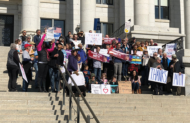 """A""""Thank you, Mitt"""" gathering on the state Capitol steps in February 2020 - CHRIS VANOCUR"""