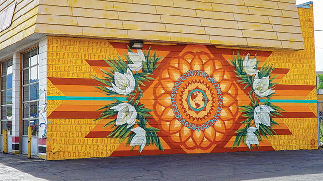 """Mural stroll: """"Sanacion A Madre Tierra"""" - by RootsArtCollective located at Mr. Muffler - 107 W. 2100 South - THEMURALFEST.COM"""