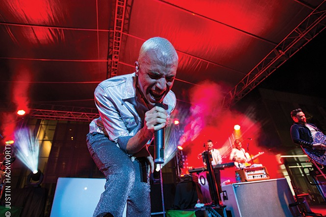 Neon Trees' Tyler Glenn at the Provo Rooftop Concert Series in October 2014