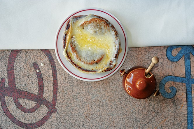 French onion soup at The Paris - DEREK CARLISLE