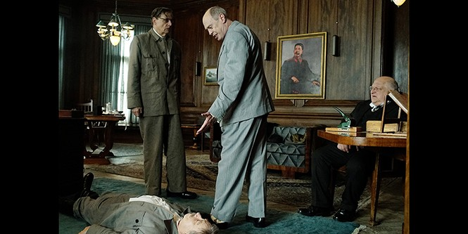 Jeffrey Tambor and Steve Buscemi (standing) in The Death of Stalin - IFC FILMS