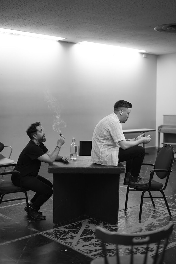 Whit Hertford and Austin Archer in rehearsal for The Aliens. - HALEY HOOVER