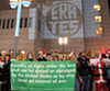 Last December, a group of merry protesters managed to project the iconic 'ERA Yes' logo on the LDS Conference Center's facade.