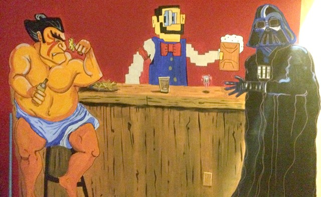 1983 game Tapper isn't in the house, but its bartender is, attending to E. Honda and Darth Vader