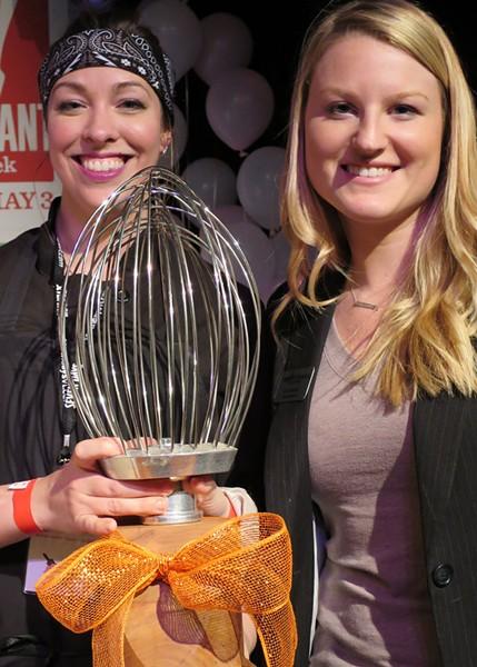 2015 Sweet Start Smackdown winner Nicole Maddox of Waterworks Food + Drink in Winooski with Kylie Webster of Vermont Federal Credit Union - MATTHEW THORSEN