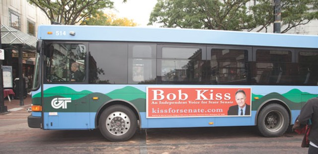 A Bob Kiss for State Senate advertisement on a bus - MATTHEW THORSEN