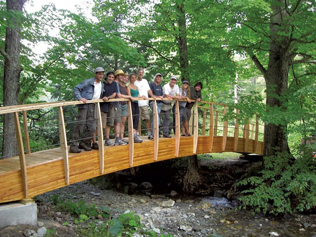 A bridge in Poultney constructed in 2011 with instructors Steve Badanes, Jim Adamson and Bill Biolosky