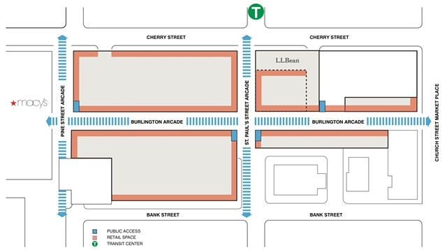 A concept diagram of Burlington Town Center's planned redevelopment - COURTESY: DEVONWOOD INVESTORS, LLC