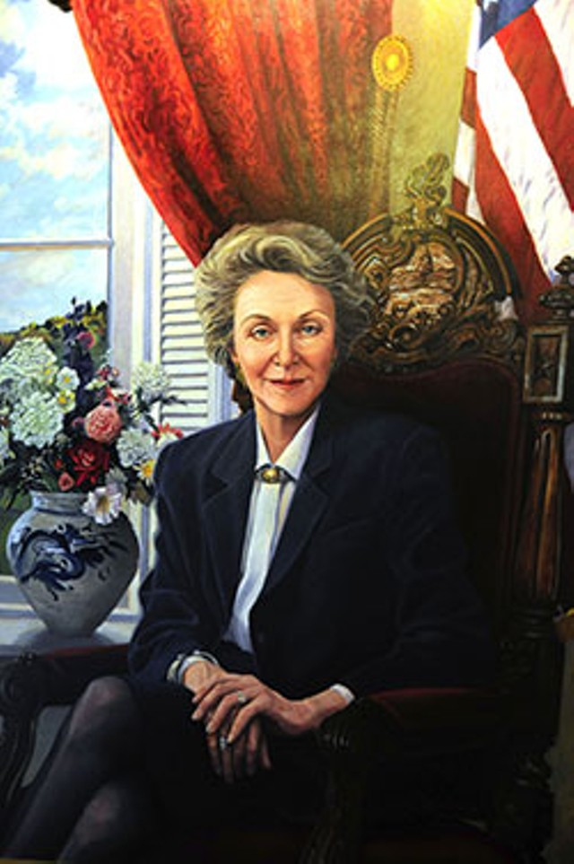 A detail of Jan Cook Mack's 1991 oil portrat of Gov. Madeleine Kunin.