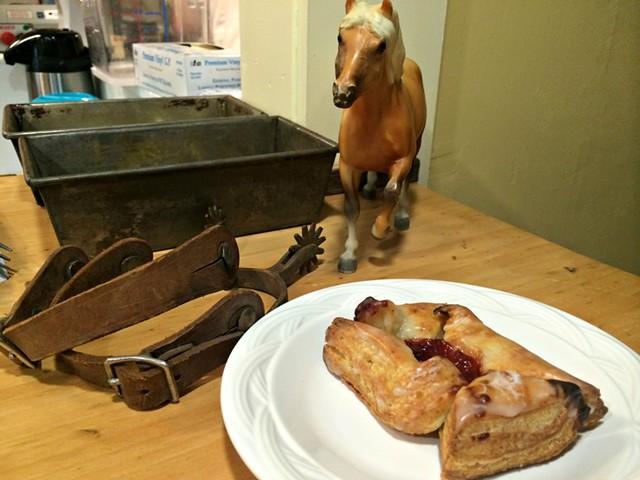 A horse charges toward one of the bakery's eponymous pinwheels - ALICE LEVITT
