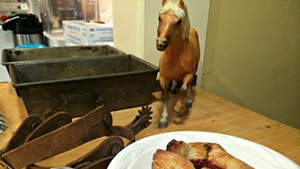 A horse charges toward one of the bakery's eponymous pinwheels