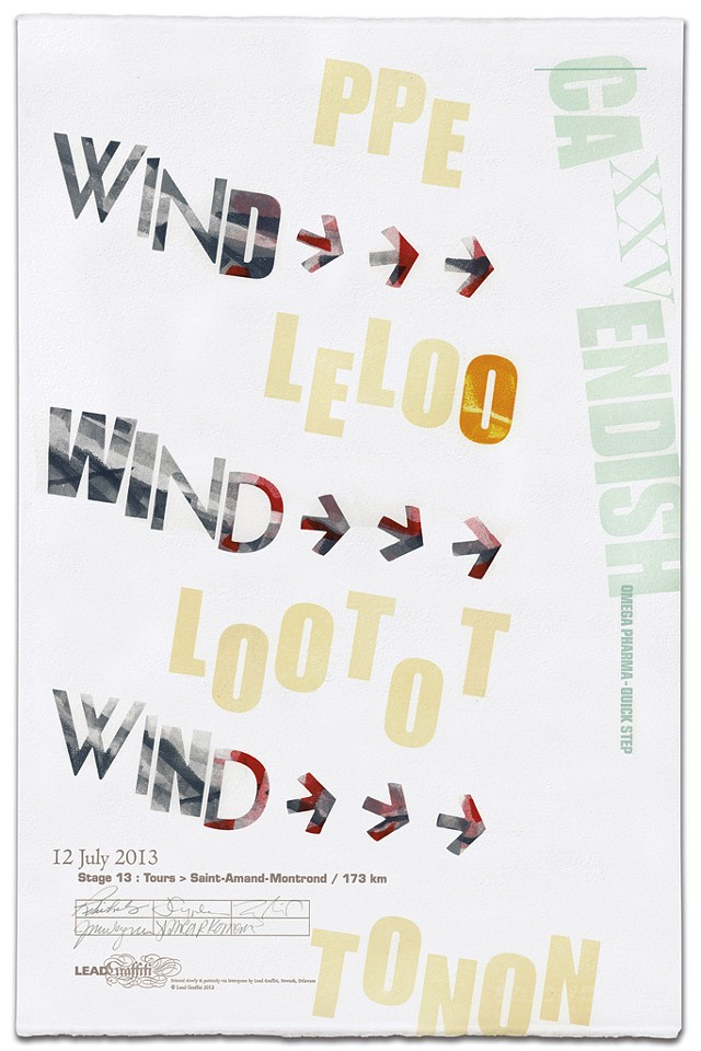 A letterpress print inspired by last summer's Tour de France