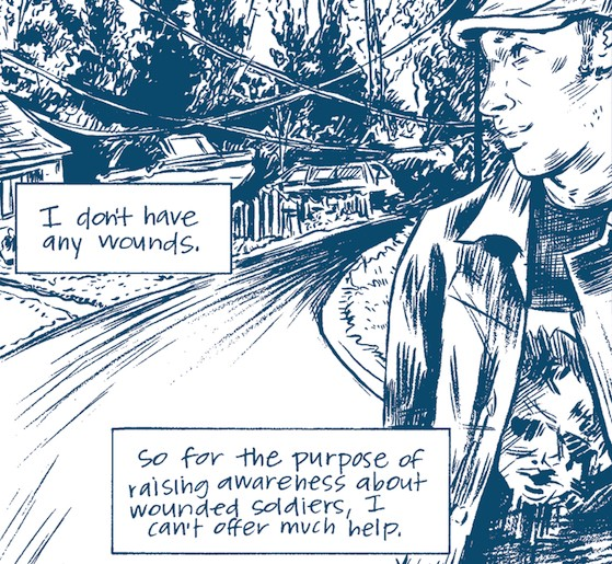 A panel from Jess Ruliffson's comic Invisible Wounds - COURTESY OF THE CENTER FOR CARTOON STUDIES