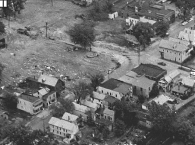 A photograph of the neighborhood in 1966 near the time of demolition