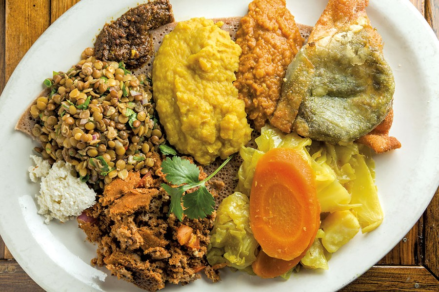 A plate of Ethiopian food at ¡Duino! (Duende) - OLIVER PARINI