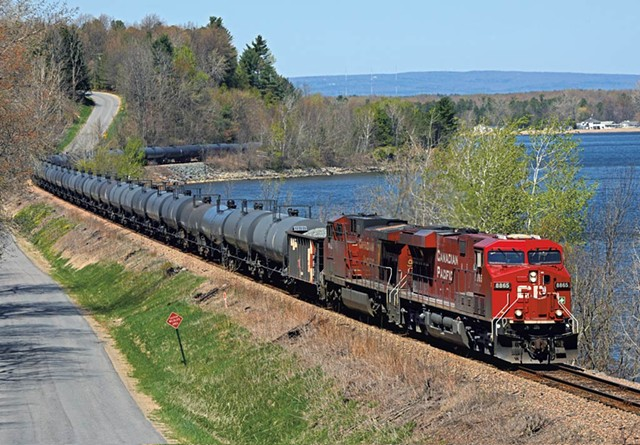 A train hauling tanker cars at Port Kent, N.Y. - KEVIN BURKHOLDER