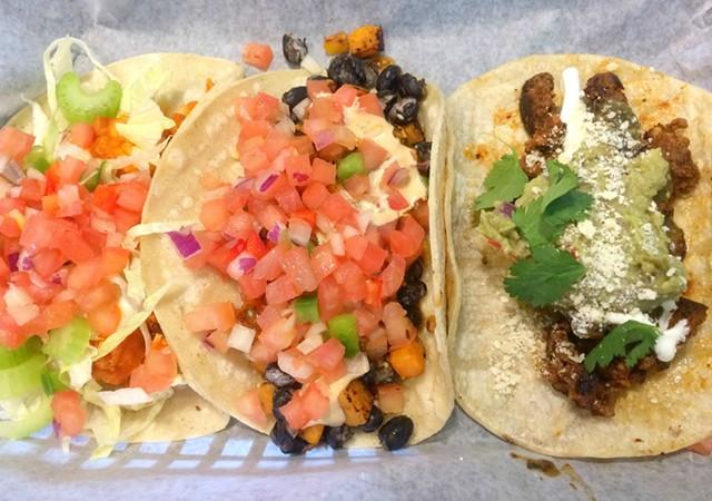 A trio of tacos, $2 to $4.25 each - ALICE LEVITT