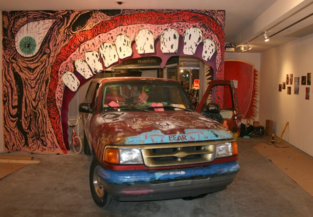 Abby Banks' truck at the Firehouse Gallery