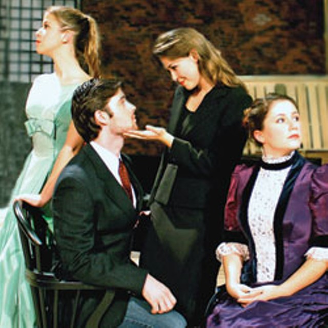 """Actors Sam Durant Hunter as Torvald (center) and, from left, Elinor Reina, Julifer Day and Kari Buckley as  """"Nora"""" for  UVM Theatre's  reimagined production of Ibsen's A Doll's House."""