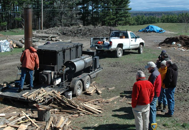 Adam retort, used for making biochar at Shelburne Farms