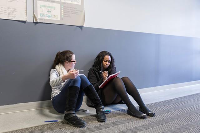 Alexandra Klein (left) and Etinosa Obanor of Cornell University preparing for a debate - OLIVER PARINI