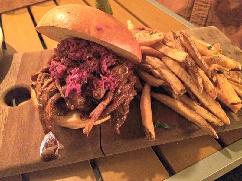 Cider-braised barbecue brisket sandwich, $10 - ALICE LEVITT