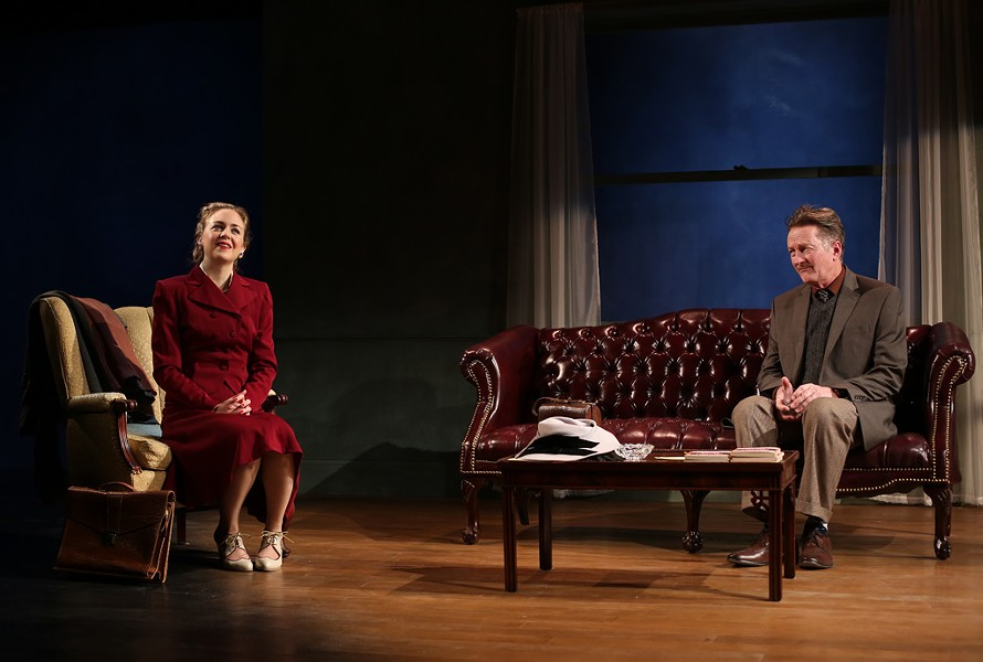 Allison Jean White (left) and Jamie Horton in Orwell in America - ROB STRONG