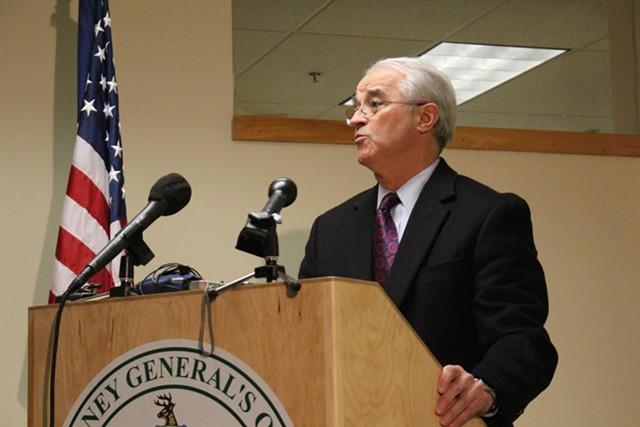 Attorney General Bill Sorrell announces an enforcement action against former lieutenant gubernatorial candidate Dean Corren in March. - FILE: PAUL HEINTZ
