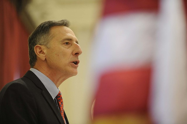 Gov. Peter Shumlin delivers his third inaugural address. - JEB WALLACE-BRODEUR